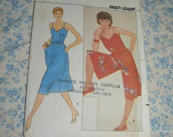 70s Butterick 4393 Misses Dress and Culotte Dress Sewing Pattern UNCUT Size 10 -