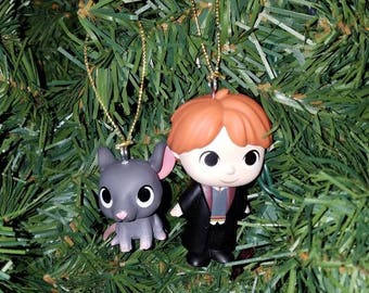 Harry Potter Christmas Ornament set Ron and Scabbers
