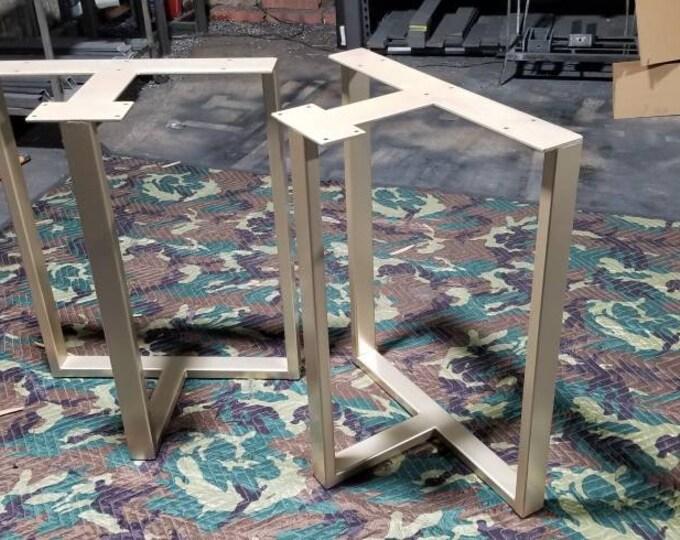 Golden T-Shaped Metal Table Base,  Custom Sizes, Heavy Duty, Industrial