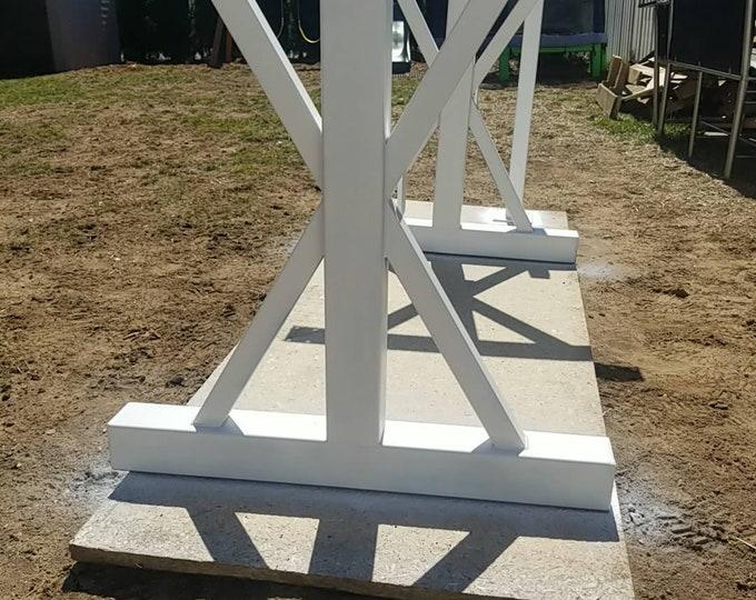 Steel Table Base, Trestle Farmhouse Metal Legs, White