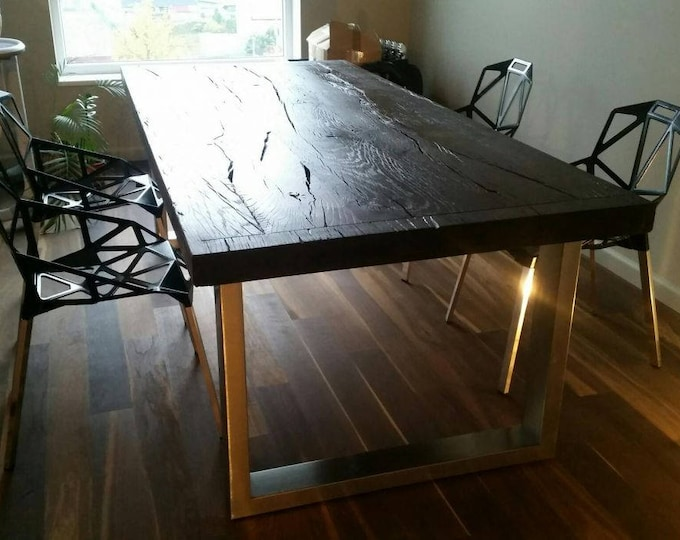 Hand Brushed Stainless Steel Table Base, 1 x 3 Rectangle Tubing