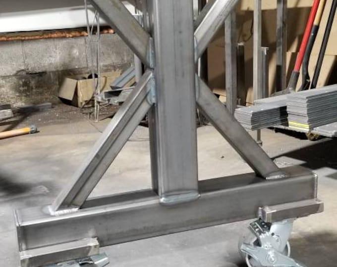 Metal Table Legs, Metal Steel Base, Casters,  Farmhouse