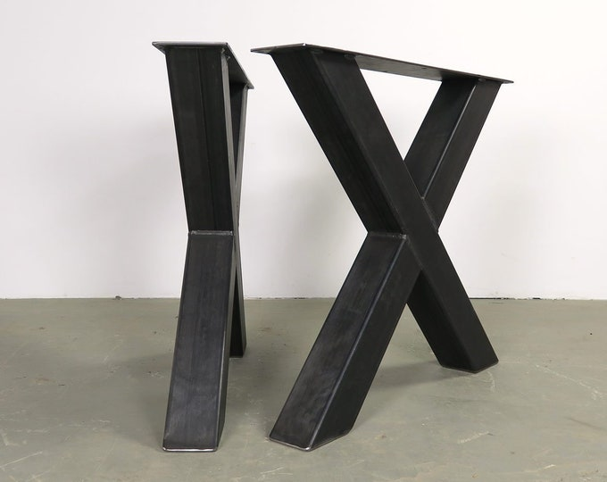 X Shaped Metal Table Base, Industrial Table Legs, Farmhouse Table Base
