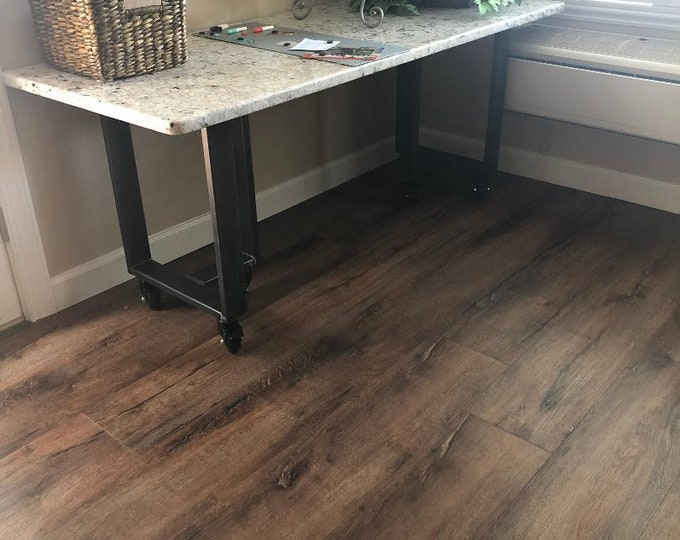 T Shaped Metal Table Base, Casters, Industrial