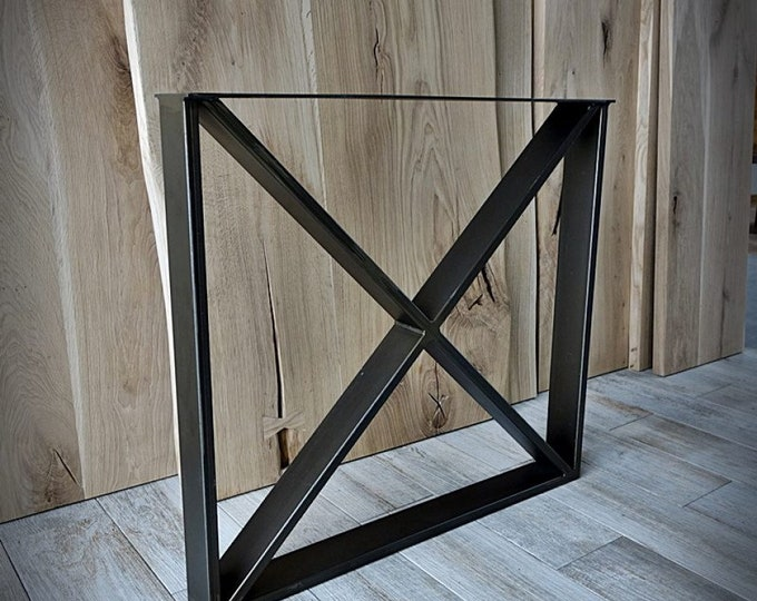 X Shaped Metal Table Base , Industrial Legs, Farmhouse