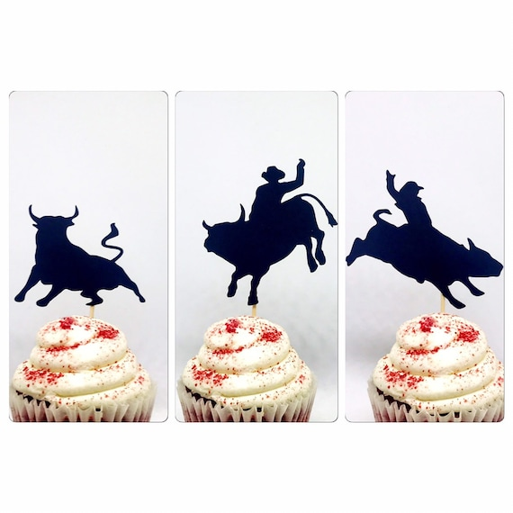 12 Detailed Cowboy Cupcake toppersBirthday PartyHorse toppersStar topperCowboy Party