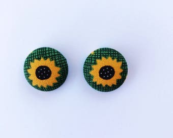 Sunflower Fabric Button Earrings