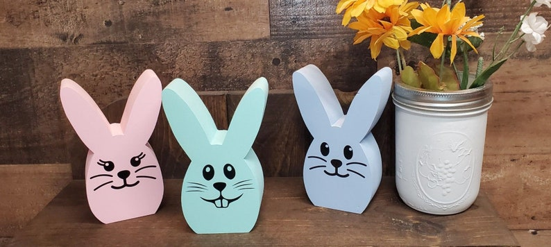 Set of 3 unfinished wood easter bunnies made of reclaimed lumber  Unfinished wooden peeps  DIY Easter Crafts