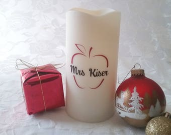 Flameless Decorative Candle- Personalized Apple For Teachers