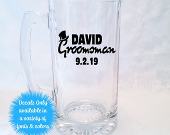 Top Hat Groomsman Wedding Stickers for Beer Mug