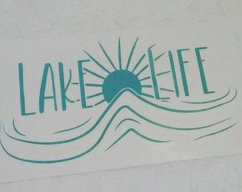 Lake Life Sunset Window Decal