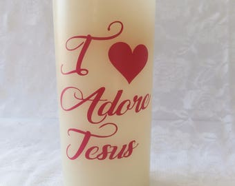 Flameless Wax Candle - I Adore Jesus