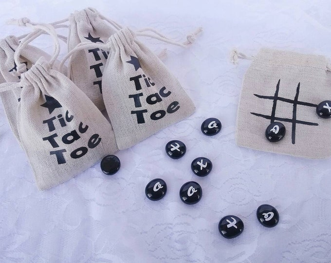 Tic Tac Toe Drawstring Travel Game, Stocking Stuffer, Party Favors, Tic Tac Toe Christmas Tree Game, Personalized Drawstring Bag Board Game