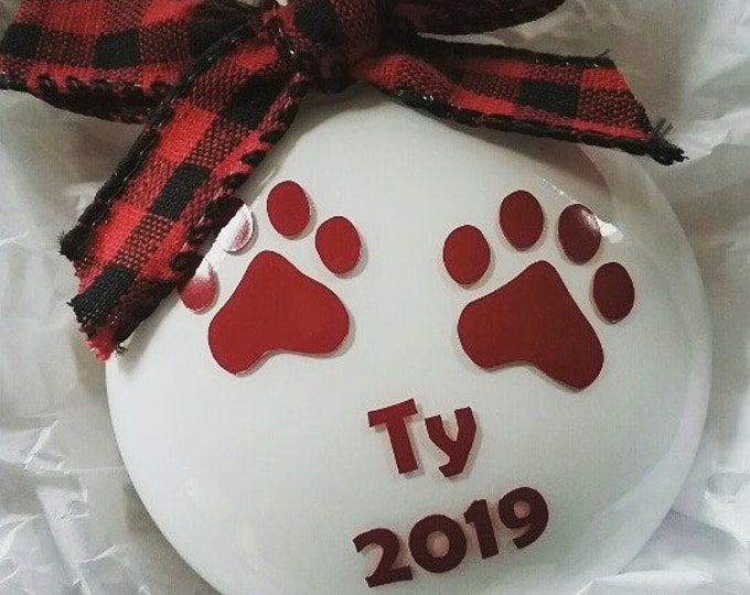 Personalized Paw Prints Glass Disc Bulb Christmas Ornament 2019 featuring buffalo plaid bow- Pet Lovers