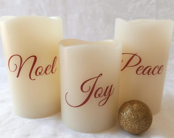 Peace, Joy, Noel- Flameless Candle Set (3)