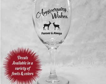 Anniversary Wishes Decals for Wine Glasses