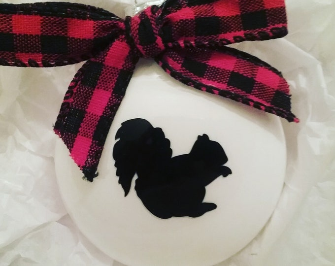 Personalized Squiriel Glass Disc Bulb Christmas Ornament 2019 featuring buffalo plaid bow