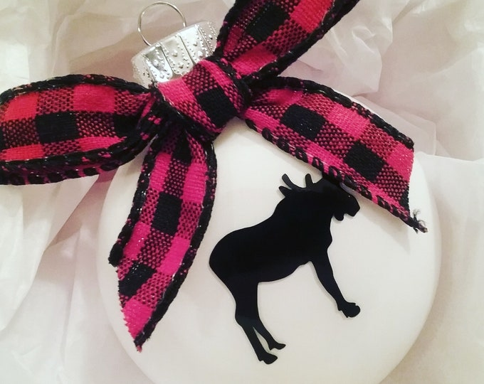 Personalized Moose Glass Disc Bulb Christmas Ornament 2019 featuring buffalo plaid bow