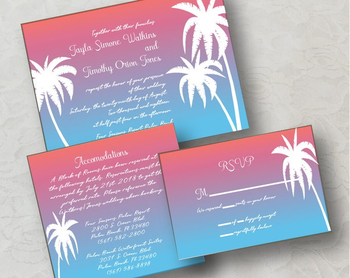 Sunset Palm Invitation Printable Download (DIY)