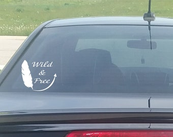 Wild and Free Feather Vinyl Window Decal