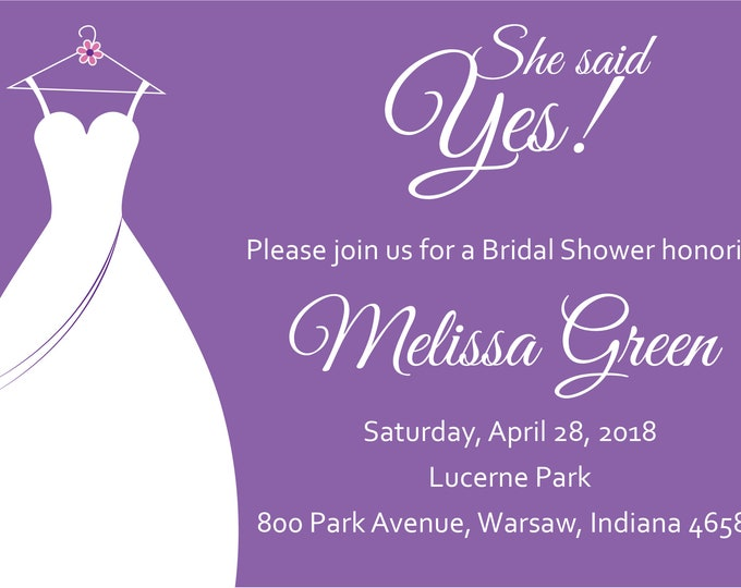 She Said Yes Bridal Shower Invite-Purple