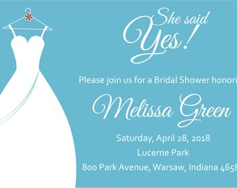 She Said Yes Bridal Shower Invite-Blue