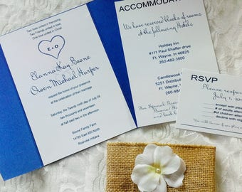 Country Blue Rustic Wedding Invitations