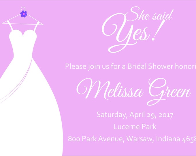 She Said Yes Bridal Shower Invite-Pink