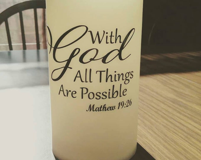 With God All Things Are Possible Mathew 19:26 Bible Verse Decorative 6inch Flameless Wax Candle