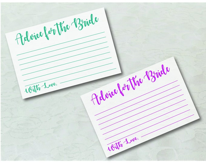 DIY Printable Marriage Advice Cards-Pink and Teal