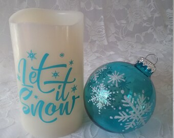 Flameless Decorative Candle- Let It Snow