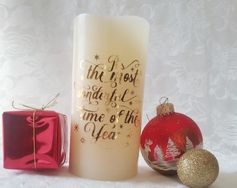 Flameless Decorative Candle- It's the Most Wonderful Time of the Year