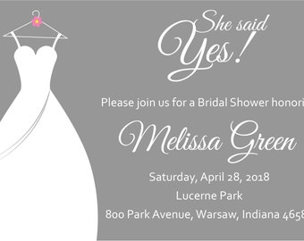 She Said Yes Bridal Shower Invite- Gray