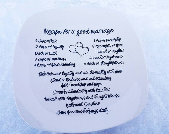 Recipe for a Good Marriage Decorative Plate with stand