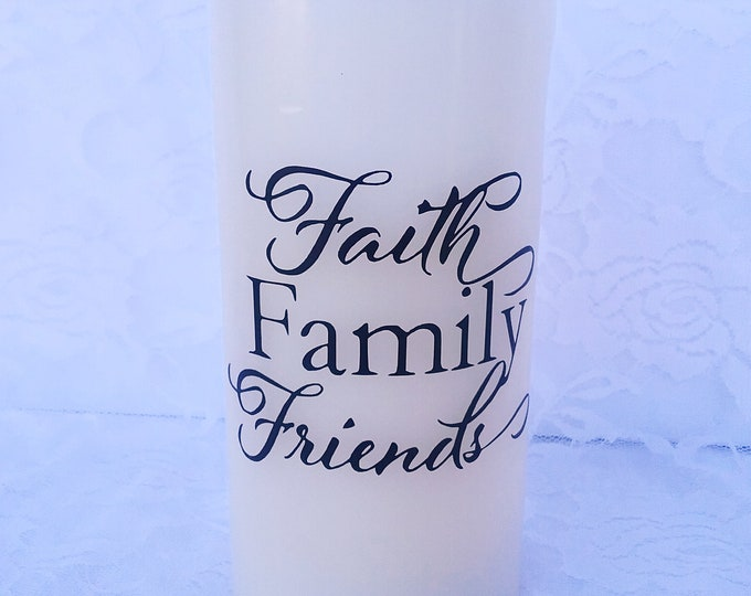 Decorative Flameless Candles - Faith, Family, & Friends Candle