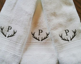 Monogramed Antler Hand Towel