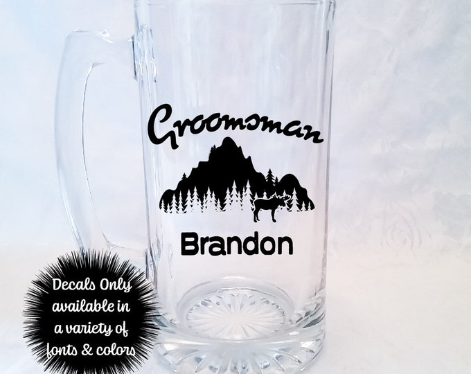 Moose Mountain Groomsman Wedding Stickers for Beer Mug