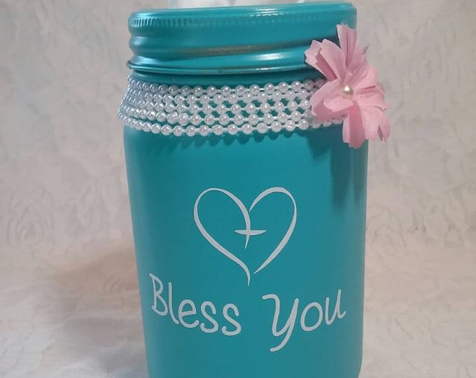 Turquoise Bless You with heart cross Mason Jar Tissue Holder Quart Size Desk Tissue Jar