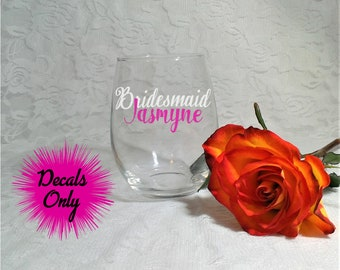 Bridal Party Wedding Stickers for Wine Glasses