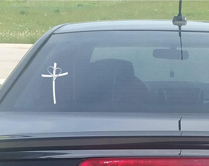 Cross Heart Decal