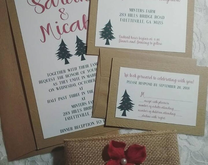 Christmas Dancing Trees Wedding Invitation