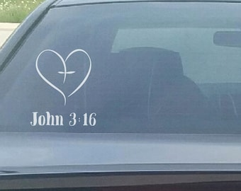 John 3:16 Heart Decal