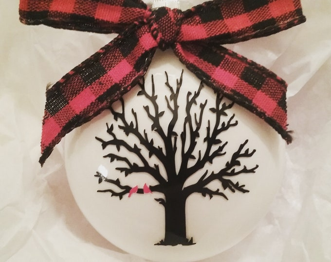 Winter Tree with 2 Cardinals Glass Disc Bulb Christmas Ornament featuring buffalo plaid bow