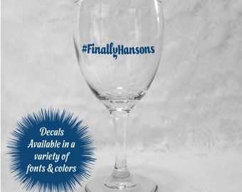 Wedding Hashtag Decals for Wine Glasses