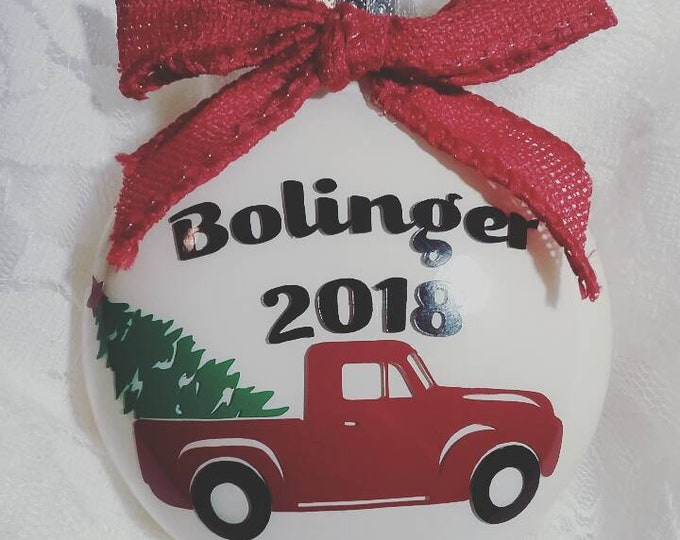 Old Fashioned Christmas Tree Family Christmas Ornament with Red Pickup Truck