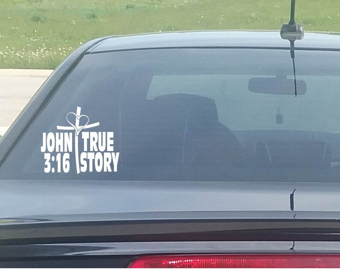 John 3:16 True Story Heart Cross Christian Window Decal