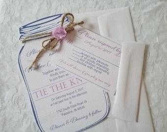 Mason Jar Wedding Invitation -Rustic Belle