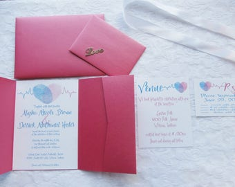 Personalized Fingerprint Pocket Card Wedding Invitation-Teal and Pink, Fingerprint invitations -bridal shower, Custom Wedding Invitations