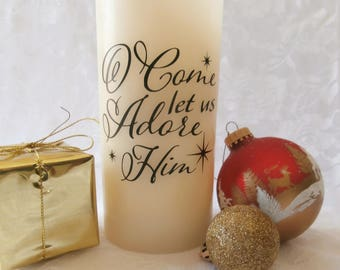Come Let Us Adore Him- Flameless Candle
