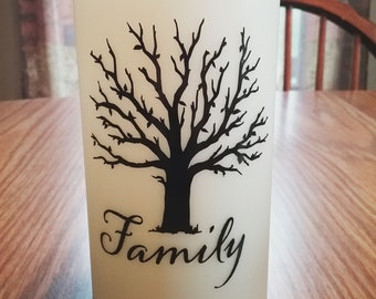 Family Tree 6 Inch Ivory Flameless Wax Decorative Candle-Battery Operated